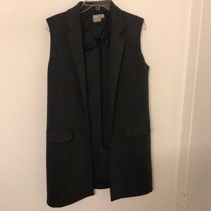 ASOS long gray vest sleeveless coat jacket